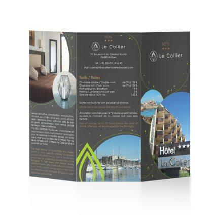 Hôtel*** Restaurant Le Collier - création et impression brochures Dreampix communication Antibes