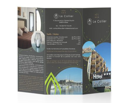 Hôtel*** Restaurant Le Collier - création et impression brochures Dreampix communication Antibes