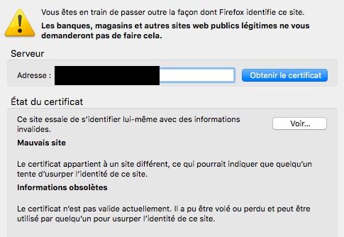 Problème de certificat sous Firefox