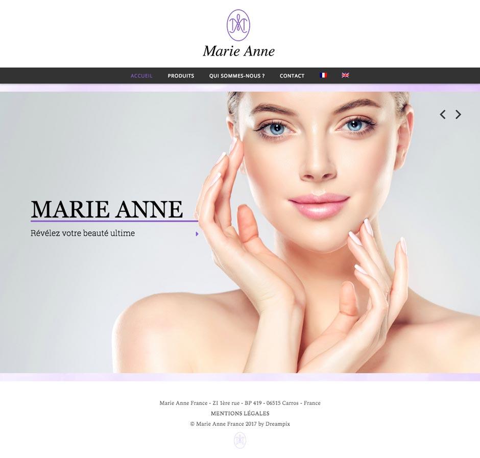 La création du site Internet de produits cosmétiques Marie Anne France