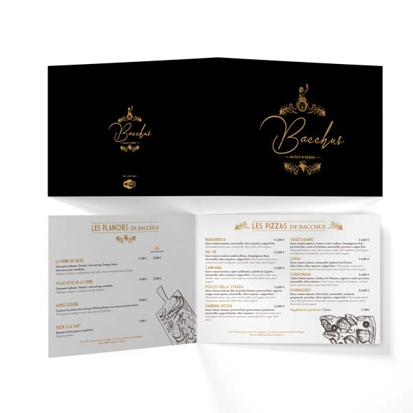 Création et impression menu restaurant Bacchus Antibes - DreamPix communication Antibes