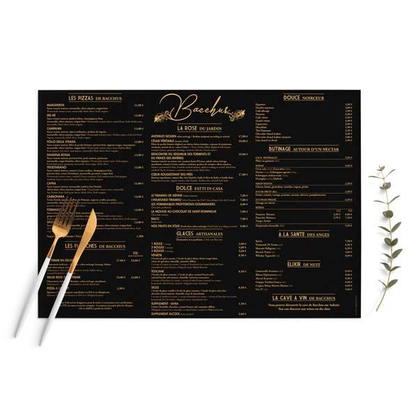 Création et impression set de table Restaurant Le Bacchus Antibes - DreamPix communication Antibes