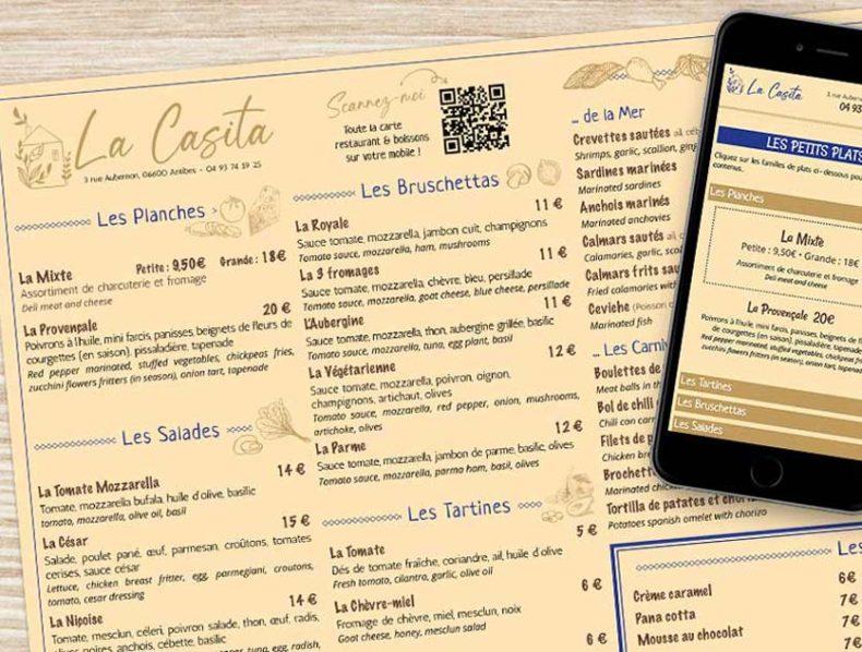 Set de table et application mobile QR Menu Restaurant La Casita - Dreampix Antibes